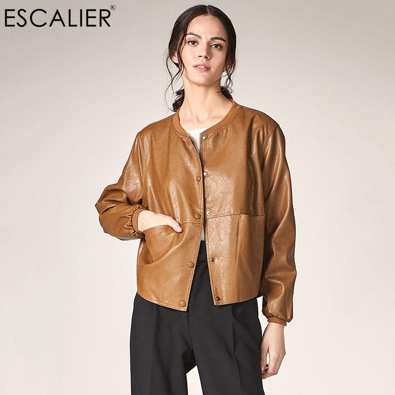 f6280a6165 ESCALIER Giacca in pelle da donna Autunno Casual manica lunga Button Slim  Giacche basic 2018 Fashion PU Leather Bomber Coat Femininas