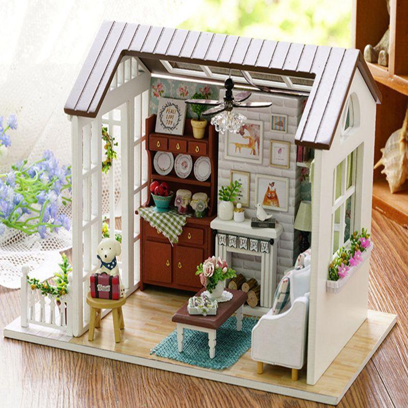 All Seasons Kids Wooden Dollhouse Living Room Christmas Gift 3d
