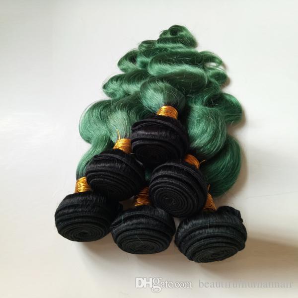 أزياء المرأة الريشة البرازيلي عذراء الشعر التمديد أومبير ينسج مثير 1B / أخضر طبقتي 8-28inch غير المعالجة الهندية ريمي الإنسان لحمة