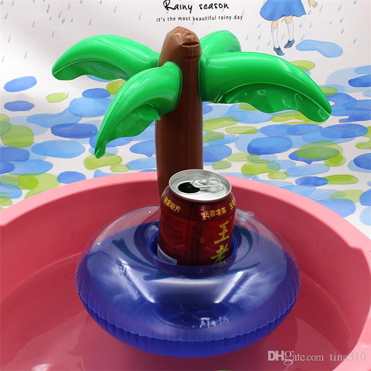 PVC Inflatable Drink Cup Holder Coconut tree Donut Watermelon Pineapple Floating Mat Floating Pool Toys T1I430