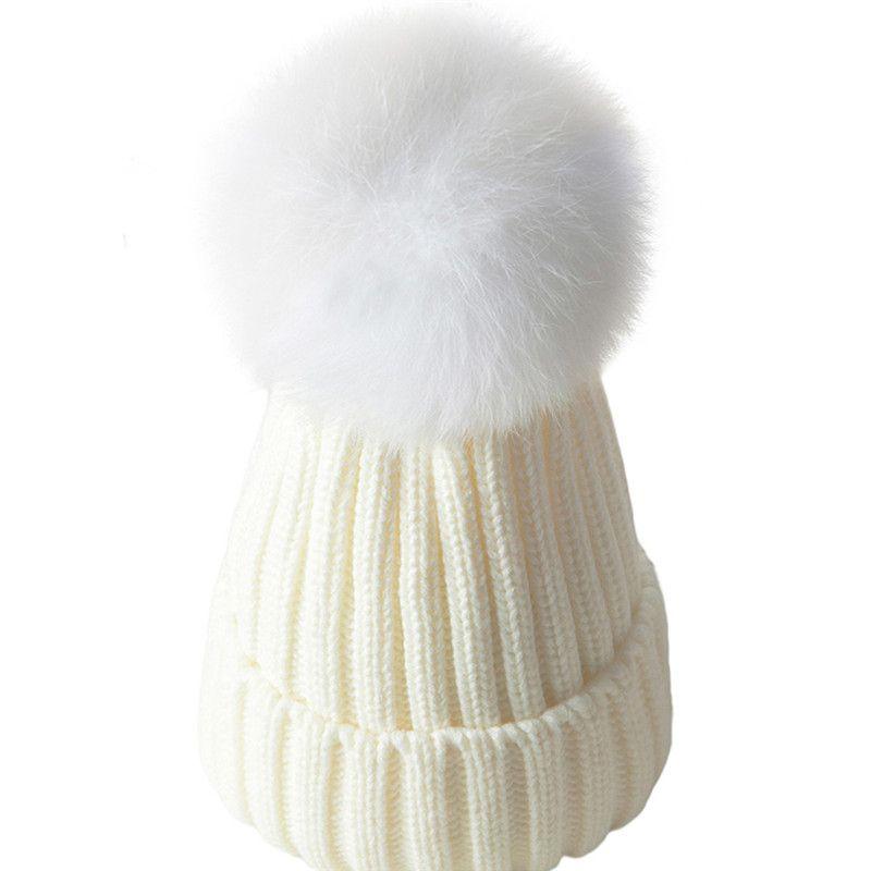 51140615e39 2019 2018 Baby Boys Girls Fur Pompom Hat Winter Caps Wool Knitted Rabbit  Fur Hats For Kids Children S Warm Pom Pom Hat Beanies Bonnet From Peachguo