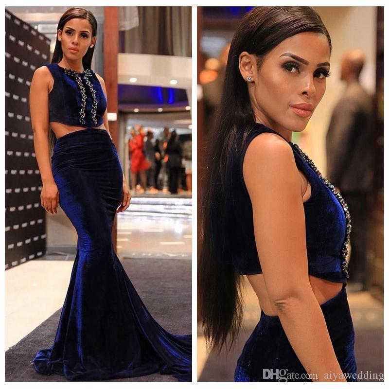 Weddings & Events Vestido De Festa New Arrival Vintage Mermaid Velvet Evening Dresses Burgundy Royal Blue Beaded V Neck Party Gowns