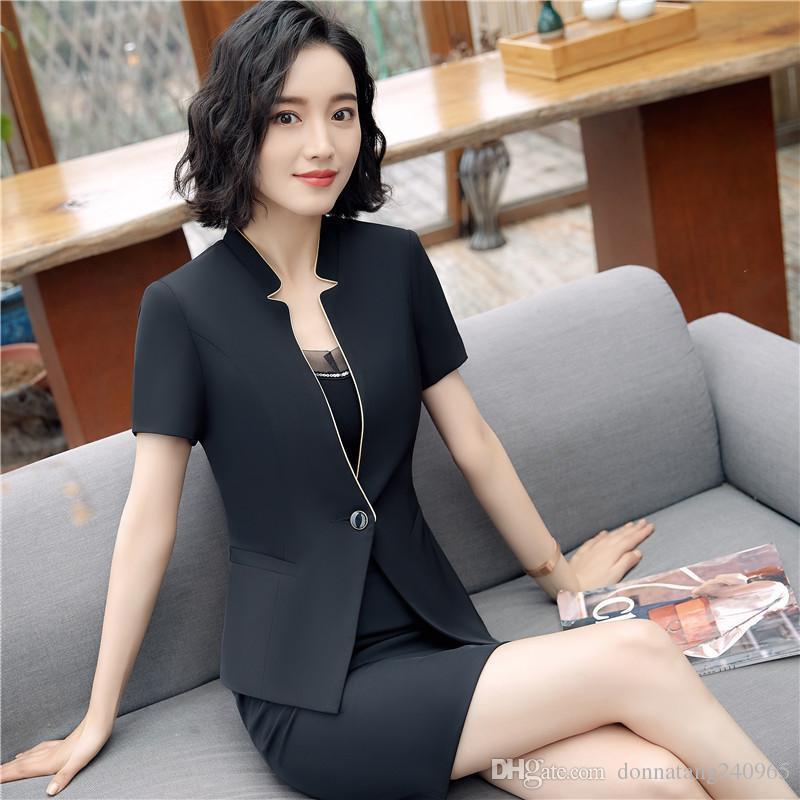 a7d929b16da9 Women Black Blue Short Sleeve Suit + Skirt Pant For Office Ladies Work Wear  Women OL Formal Clothing UK 2019 From Dujotree