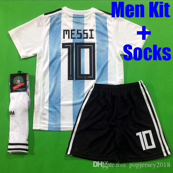 buy popular ff1b9 82f72 Thailand quality MESSI Argentina soccer jersey 2018 KUN AGUERO DYBALA  Argentina football shirt kit ICARDI uniform with socks world cup