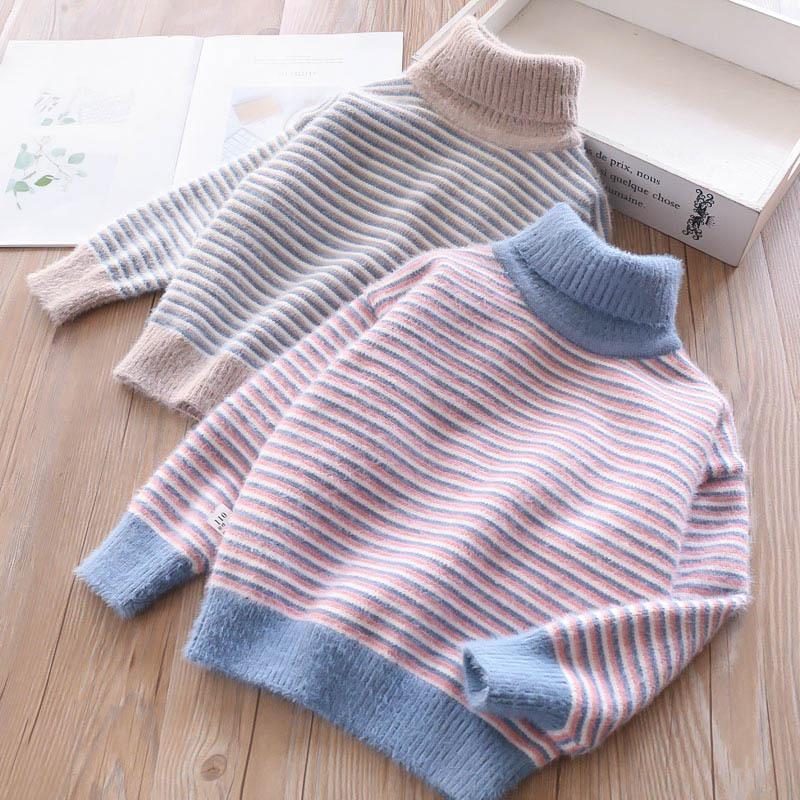 купить оптом девочки дети полосатый водолазка пуловер вязание