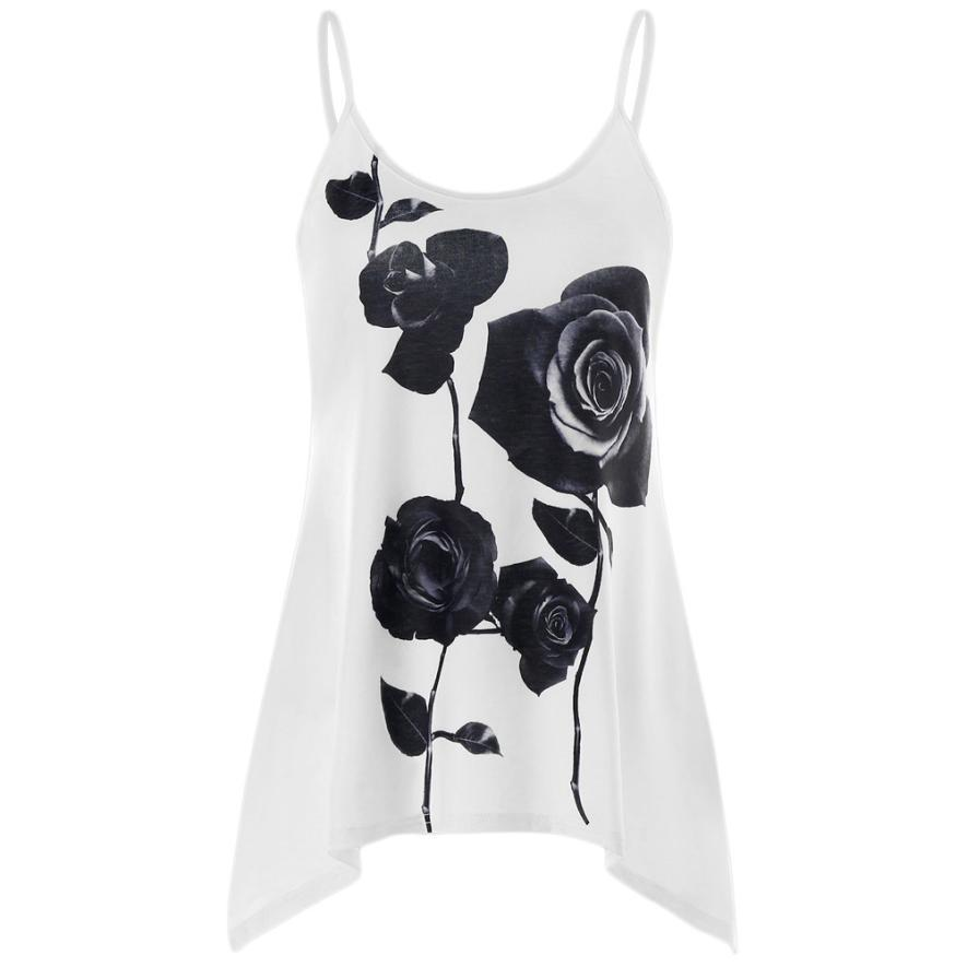 a81c6fce6af5 Summer Tank Tops For Women 2018 Casual Rose Floral Print Sleeveless ...