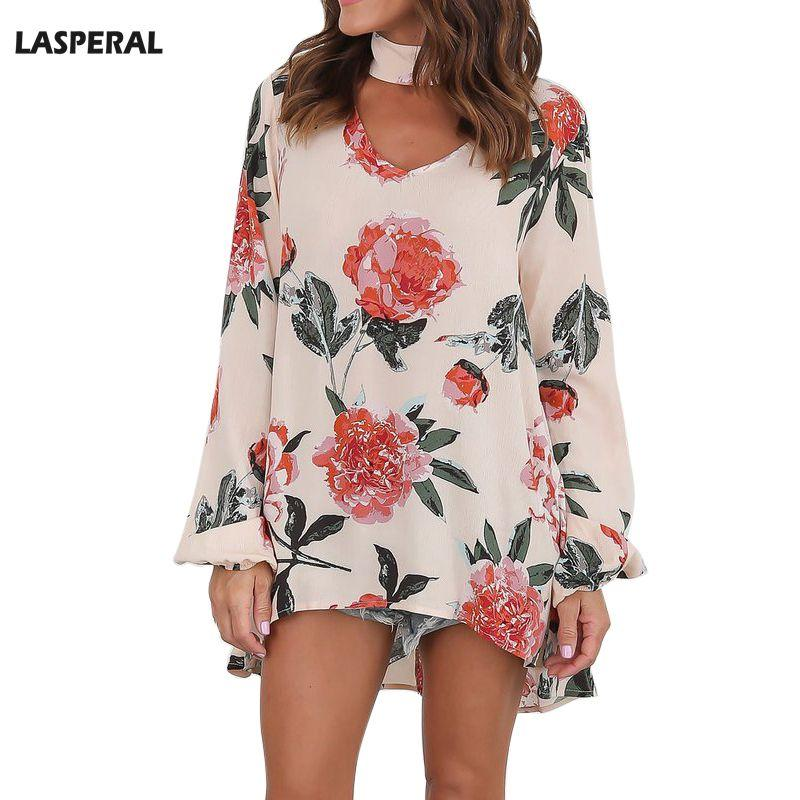 037cba761a6 2019 LASPERAL Hot Sale Women Blouse Casual Tops Long Sleeve V Neck Halter  Loose Bohemian Blusas Flower Printed Beach Shirt Plus Size From Xiamen2013