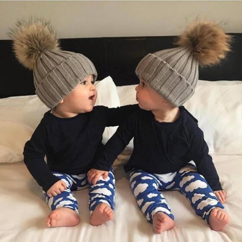 Baby Hats Real For Baby Boys Girls Children s Winter Hats With Fur Ball On  Top Boys Winter Caps New