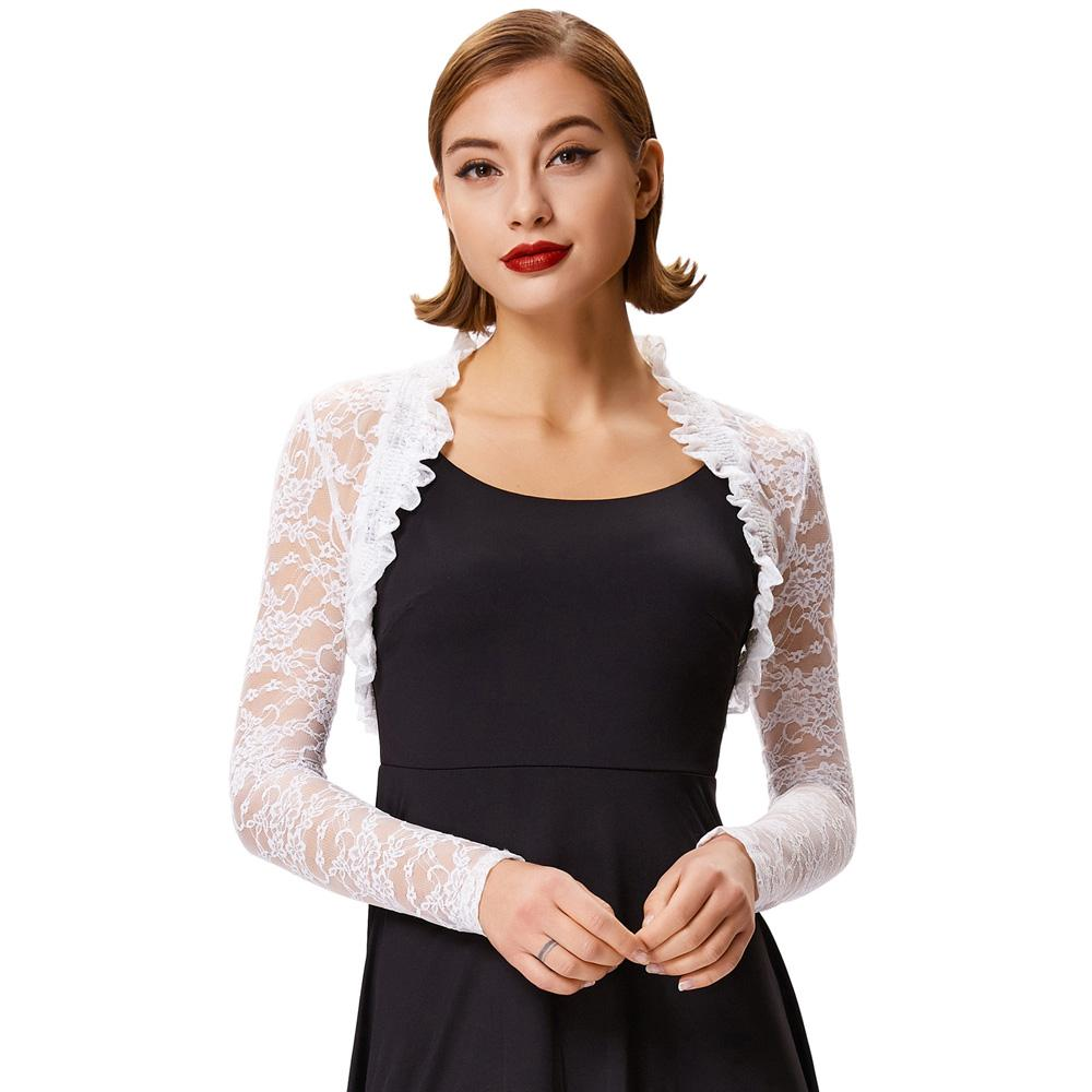 a1be663fe0ee 2018 Fashion Lace Bolero Womens Elegant Shrug Long Sleeve Sexy Black  Wedding Evening Prom Cropped Shrugs Open Stitch Basic Coat Leather Jackets  Women Hooded ...