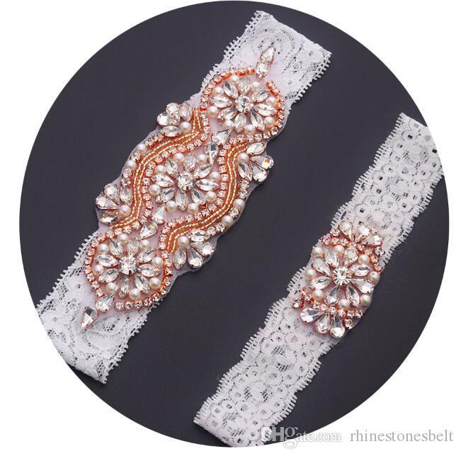 promo code 2e873 e7d44 MissRDress braut bein strumpfband handgemachte spitze hochzeitskleid  zubehör rose gold kristall strass strumpfband für hochzeit frauen YS842886