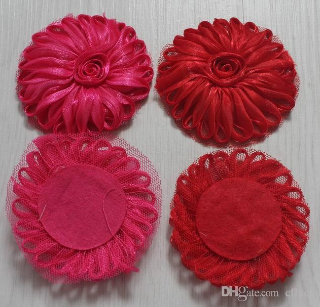 2.5 inch polyester tulle mesh fabric flowers for girls headbands,fabric flower for kids hair accessories,hair bow flowers