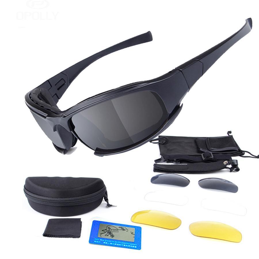 14ac5239f9d0b Compre Tático Óculos Óculos De Sol Do Exército Ciclismo Óculos De Sol 3  Lente + Homens Polarizados Tiro De Bicicleta MTB Óculos De Segurança Para O  Trabalho ...