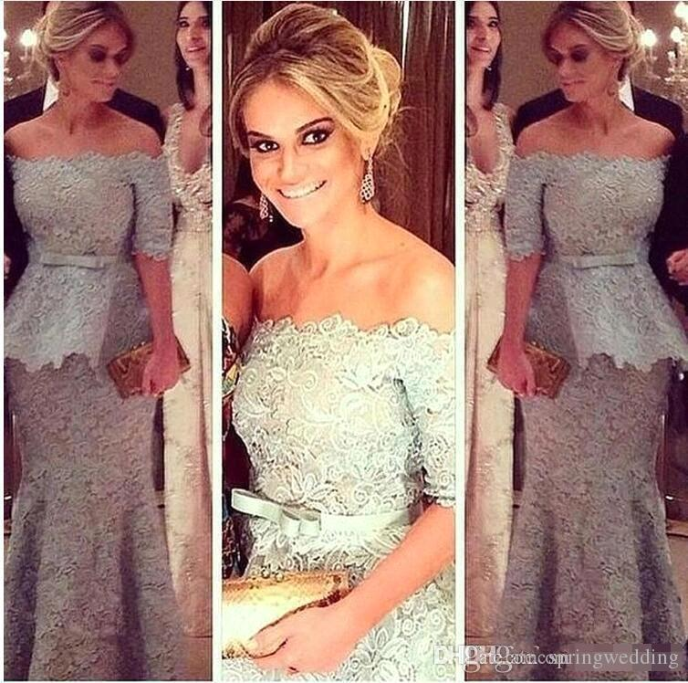 New Gray Lace Evening Dresses Sexy Off Shoulder Sheath Peplum Half Sleeves Sash Bow Formal Prom Party Gown BA9653