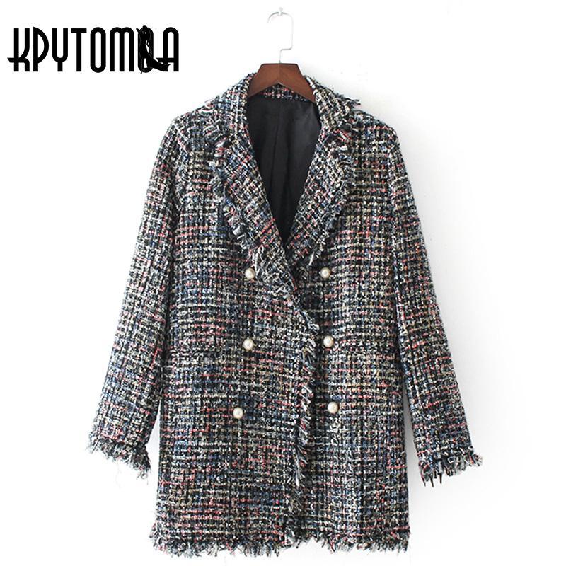 Manteau Faux Double Veste Perle Tweed Vintage Boutonnage Acheter t0Tqw