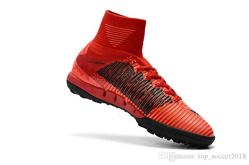premium selection f619c 69b12 2019 100% Original ICEFire Red Black Flat Soccer Cleats Mercurial Superfly  V SX Neymar JR TF Indoor Soccer Shoes From Topsoccer2018, 54.37   DHgate.Com