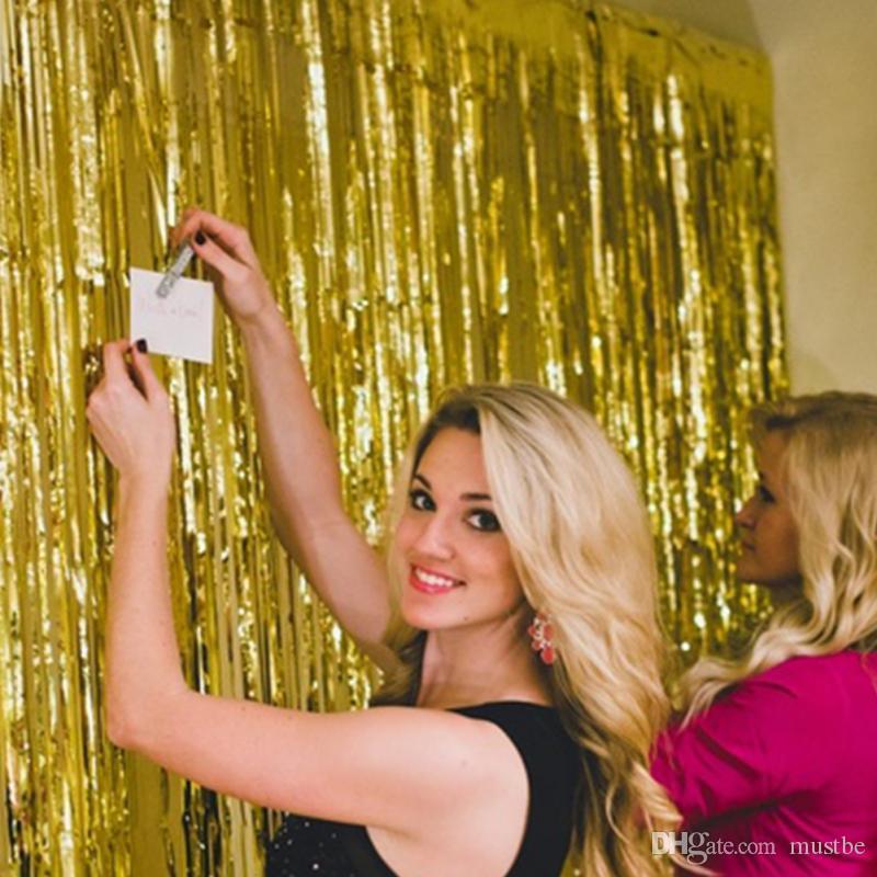 1 Mt * 2 Mt Metallfolie Fringe Tür Vorhänge Lametta Decor Für Weihnachten / Geburtstag / Hochzeit Dekoration Foto Neues Jahr