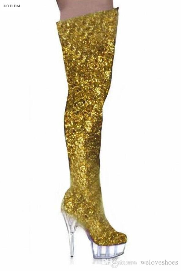 2018 блеск дамы длинные сапоги блестящие bling bling сапоги на молнии над колено высокие женщины пинетки тонкий каблук бедро высокие платформы пинетки