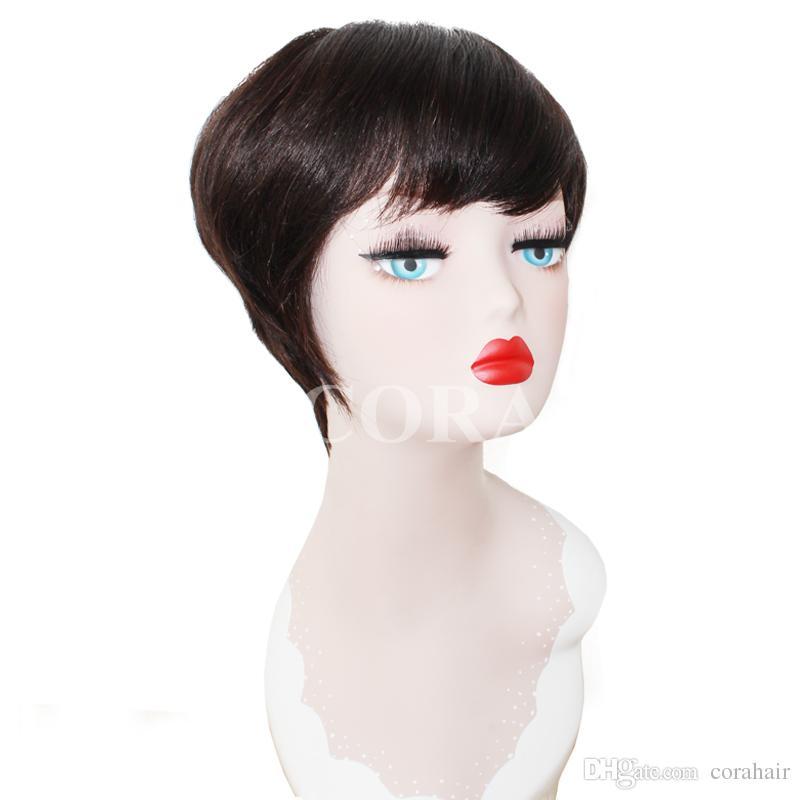 100% vierge vierge brésilienne sans colle pleine dentelle courte perruque de cheveux humains coupés avec une frange courte perruque avant de dentelle pour les femmes noires