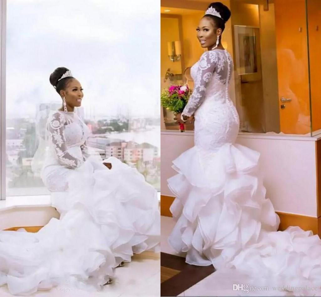 South African Nigerian Mermaid Wedding Dresses Plus Size