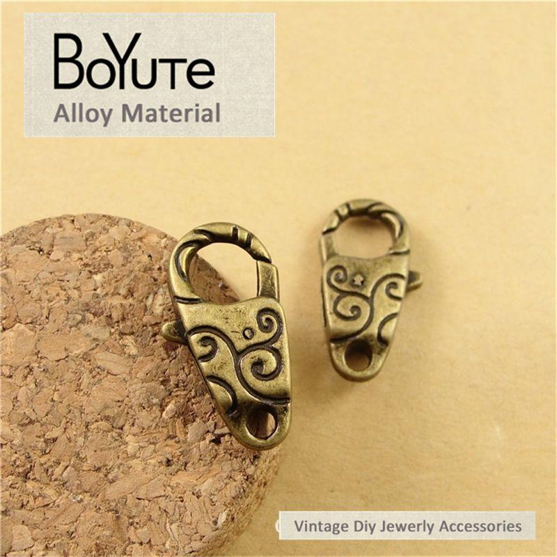 BoYuTe  13*24MM Vintage Zinc Alloy Antique Bronze Silver Plated Lobster Clasp Hooks for Diy Bracelets Jewelry Making Finding