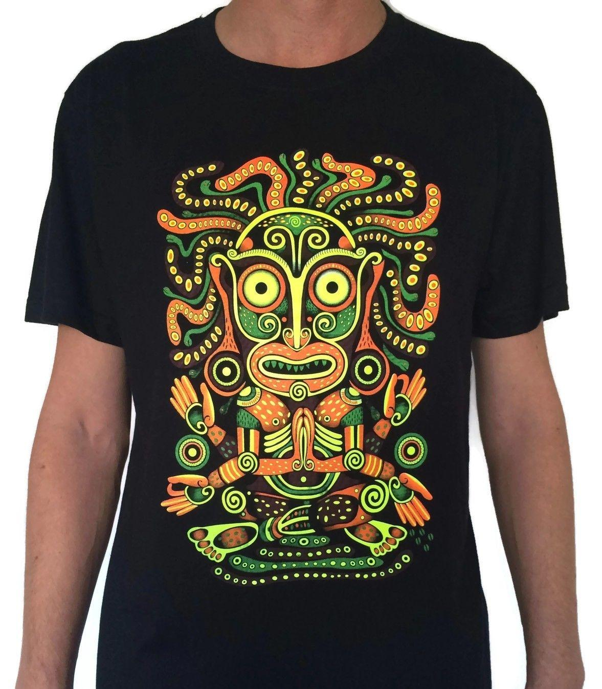 e39f778d99a IDOL Men S T Shirt Glow UV Blacklight Neon Psychedelic Art Goa Festival  Trance Newest Top Tees Fashion Style Men Tee 100% Cotton Classic Silly T  Shirts ...