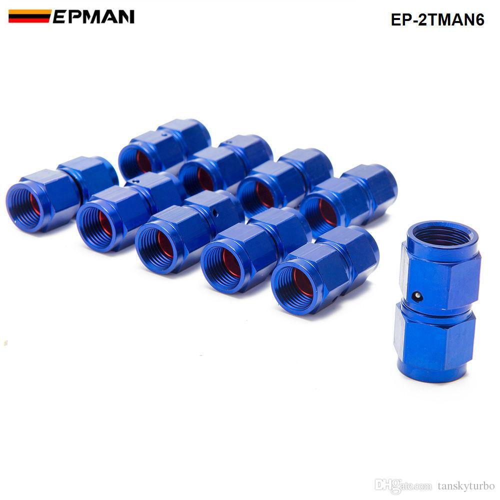 EPMAN - Blue AN6 Universal Fuel Oil Fitting Aluminum Hose End Adaptor 2 Side Female Fitting EP-2TMAN6