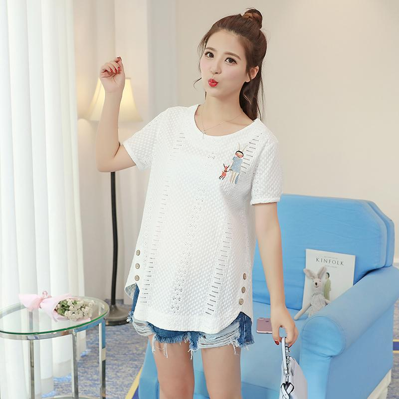 a592b8102ff 2019 Hollow Out Rochet Cotton Maternity Blouses Summer Fashion ...