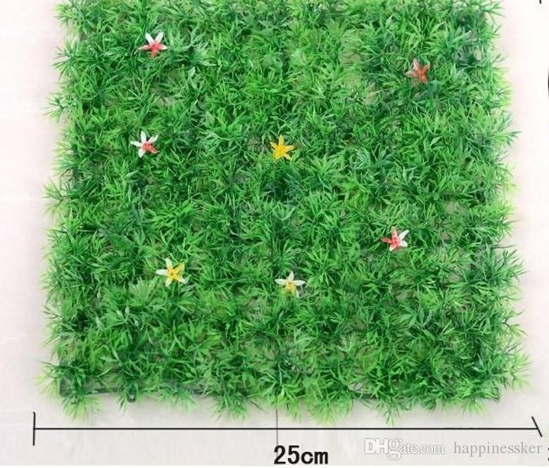 With flowers 25*25cm of Artificial plastic boxwood mat the topiary tree Grass Lawn for garden home wedding decoration