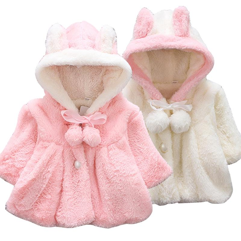 b9ab8a88f Baby Girl Jacket 2018 Autumn Winter Plush Cape Rabbit Ears Hooded ...