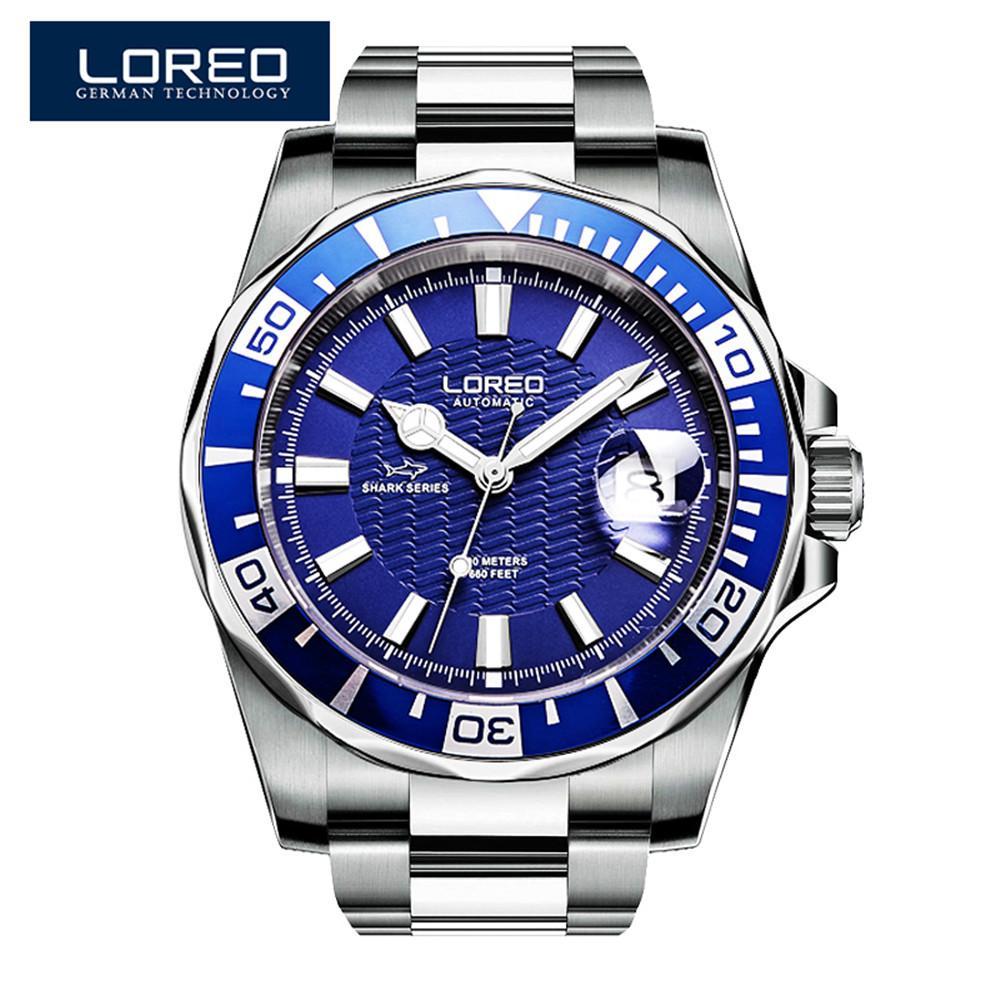 97a251860766 Compre 2017 Nuevo Diseño LOREO Relojes Marca De Acero Reloj Mecánico Automático  Hombres Buzo Relojes 200 M Impermeable Fecha Automática Reloj Luminoso A ...