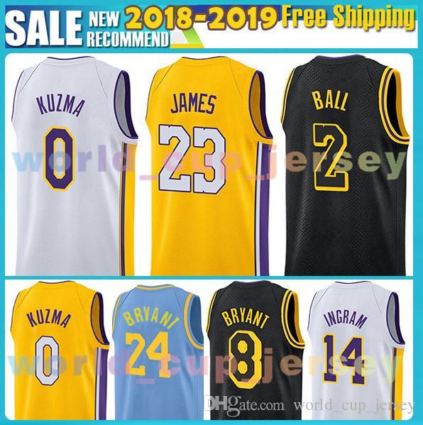 Embroidery Mens Los Angeles Jersey 23 LeBron James 2 Lonzo Ball 0 ... eb03547e1