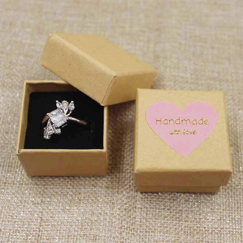 Multicolor Cute Jewelry Box Ring Box BlackPinkBeigeKraftWhite