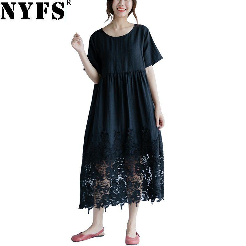 4de129f5a5 NYFS 2018 New Summer Dress Vintage Cotton Linen Women Lace Dress Loose  Comfortable Solid Long Vestidos Robe Dresses Long And Short Dress Sundress  Online ...
