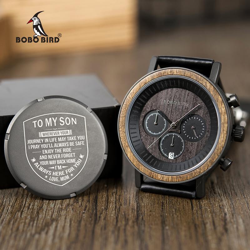 6ad6d214bc6 Compre 35 Tipos De Design Personalizado Presente Dos Homens BOBO PÁSSARO  Relógio De Luxo Dos Homens Relógios Personalizados De Volta Gravura De  Madeira ...
