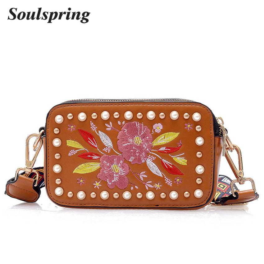 3b2f348a30 Fashion Embroidery Women Bag Flowers Crossbody Bags For Women Pu Leather  Handbag Pearl Messenger Bag 2018 New Flap Sac A Main Branded Handbags Womens  ...