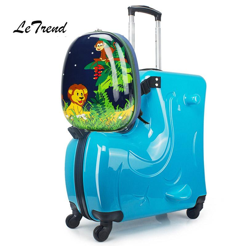 LeTrend Cute Kids Rolling Luggage Set Trolley Suitcases Wheels Children Carry On Spinner Travel Bag Student School Backpack