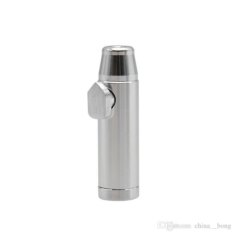 Enfiye Borular Alüminyum metal Mermi Roket Şeklinde Enfiye Snorter Enfiye Koku Dispenseri Burun Sigara Borusu Sniffer camı bong Dayanıklı Tütün Borusu