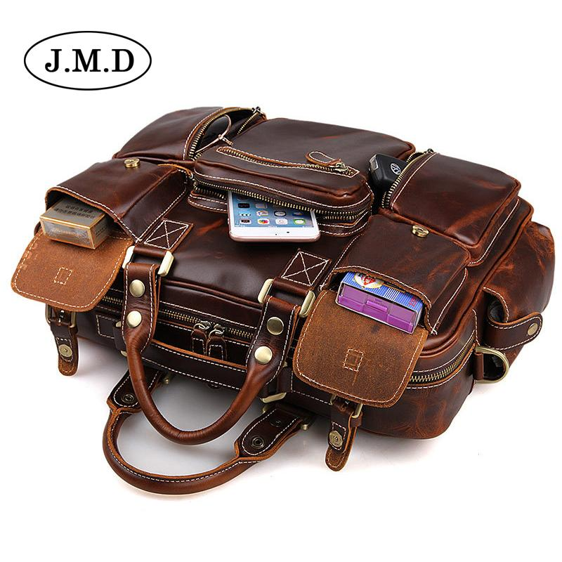 J.M.D Cowhide Genuine Leather Men S Sac Multi Pocket Large Capacity Vintage  Totes Bag Handbag Laptop Business Travel Bag 7028 Leather Handbags Handbags  On ... 65291e404c38d