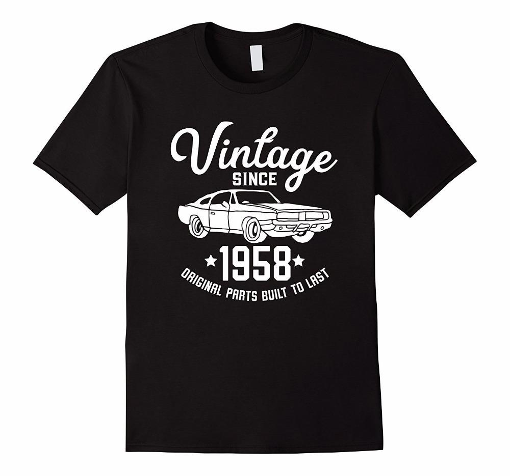 Shirt Designer Short Sleeve Print 60th Birthday 1958 Classic Car American Muscle Men Tshirt Crew Neck Mens Tee Quirky T Designs Purchase From