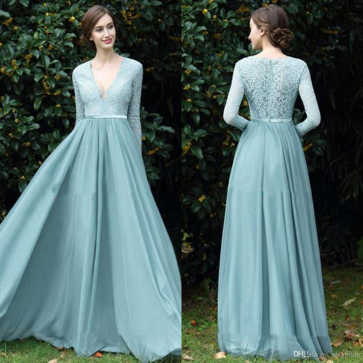 804ce519cd3 Elegant A Line Chiffon Top Lace Evening Formal Dresses 2018 V Neck Floor  Length Long Sleeve Evening Dresses Women Prom Dress Grecian Style Evening  Dresses ...