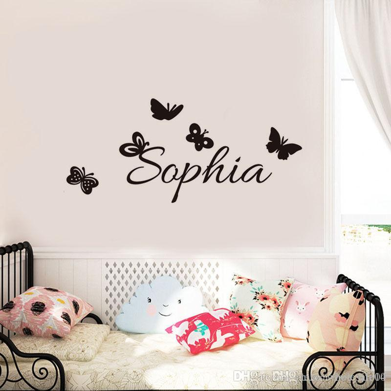 personalized name vinyl art wall stickers for kids room butterflies