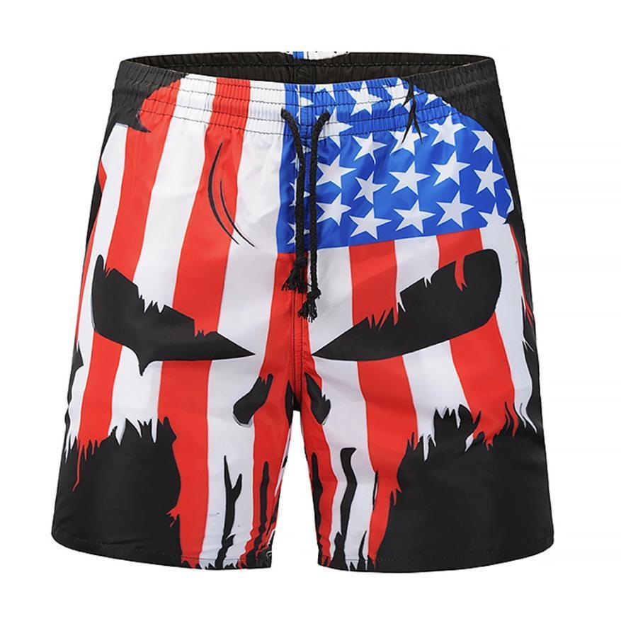 5f53940c52 Womail Mens Skull Flag Printed Swim Trunks Shorts Summer Beach ...