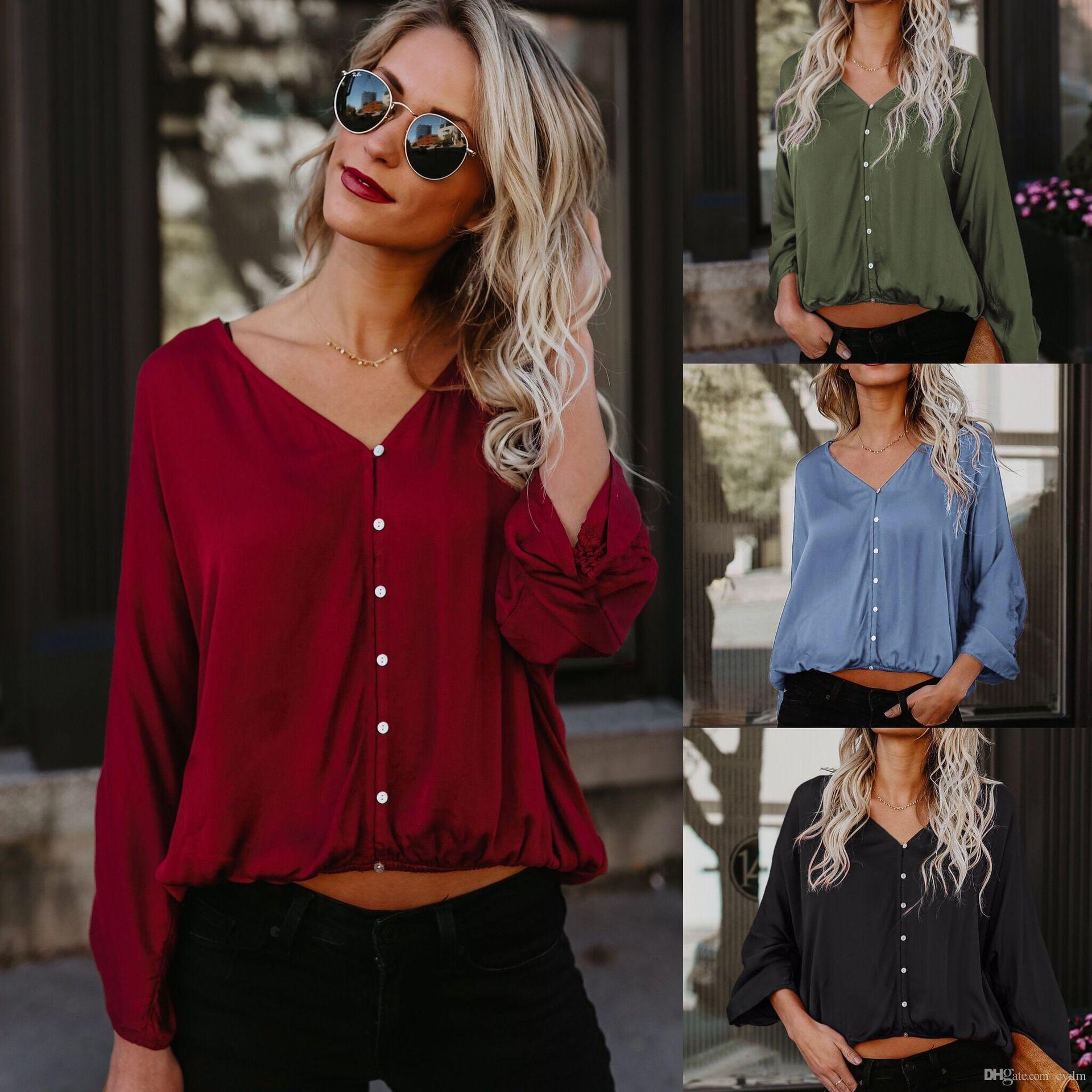 Avrupa sıcak katı renk kafa V Yaka yarasa kollu tek göğüslü rahat gömlek Siyah, yeşil, şarap kırmızı, mavi destek karışık toplu