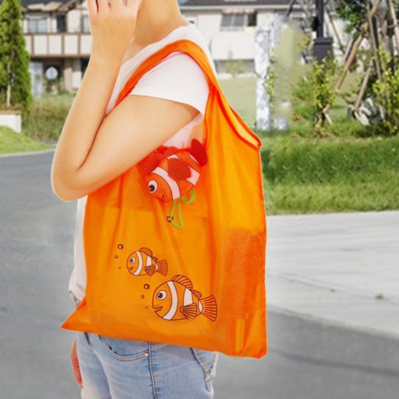 Top-Qualität Eco wiederverwendbare 10 Farben Tropical Fish Faltbare Eco wiederverwendbare Einkaufstaschen Zufällige Farbe 38cm x 60cm