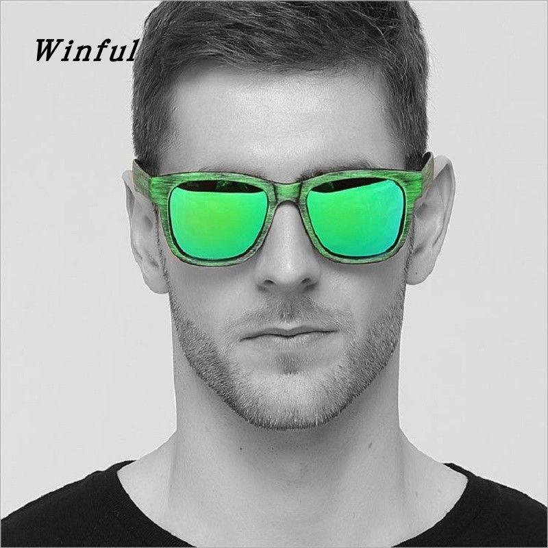 Compre Nova Moda Polarizada Óculos De Sol Dos Homens Imitação De Grãos De  Madeira Verde Óculos De Sol HD Lens De Condução Óculos Para O Homem De  Viagem ... f3f3835071