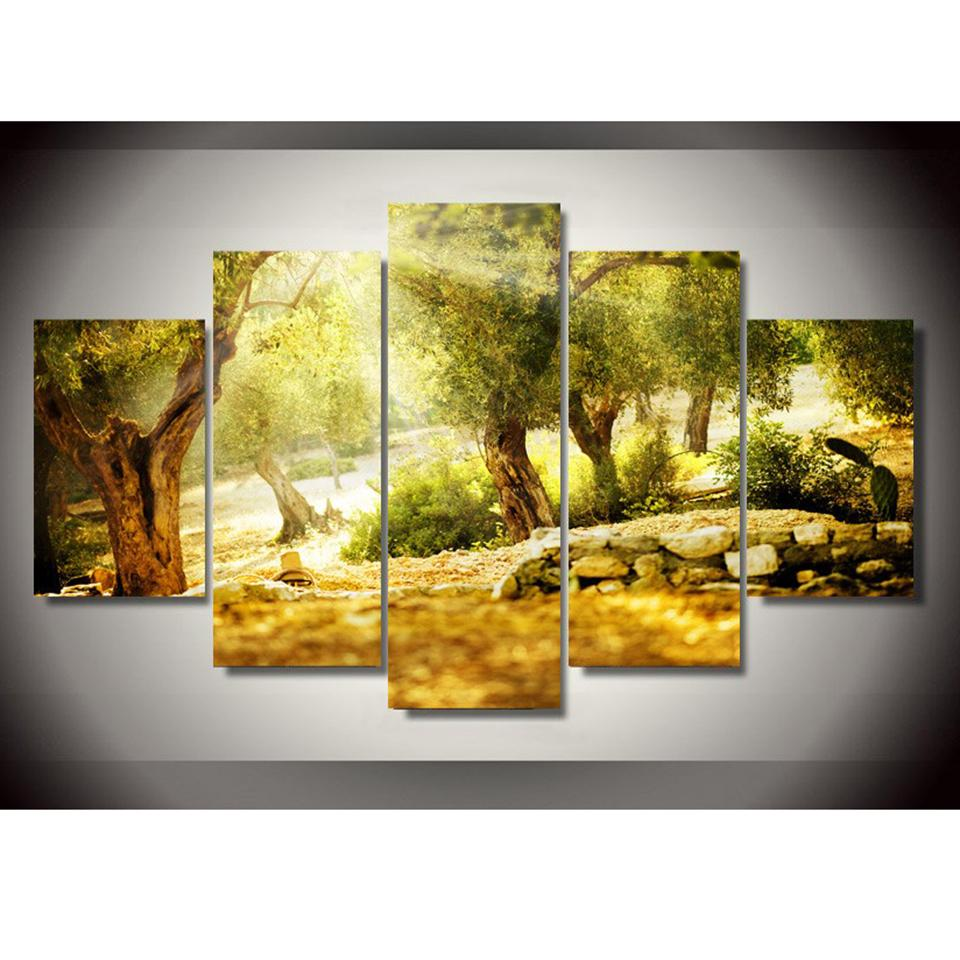 2018 Photo Canvas Painting Modern Art Live Framework 5 Panel Misty ...