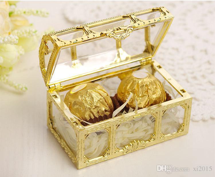 Cofre del tesoro Caja de dulces Oro Plata Plástico transparente Cajas del favor de la boda Baby Shower caja de regalo wen6128