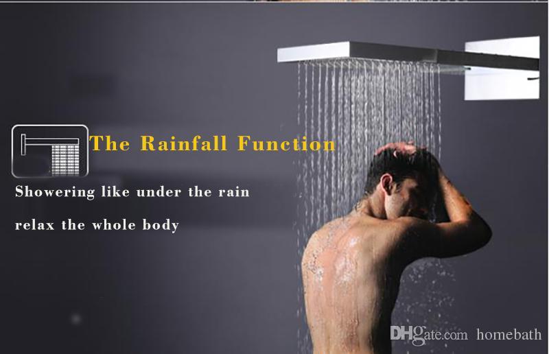 الفاخرة صنبور الحمام شلال دش كبير المطر الحائط حوض الاستحمام رؤساء مجموعة ترموستاتي الحنفيات تدليك سبا الجسم جيتس