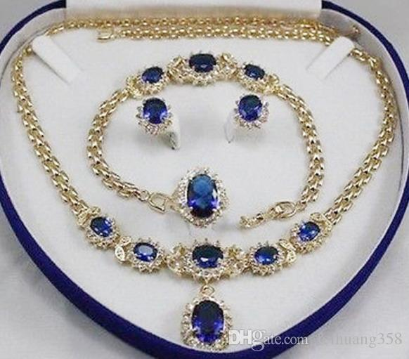 2c5352c5f9dc Compre Joyas De Mujer Aguamarina Color Amarillo Oro Pendiente Pulsera Collar  Anillo A  26.14 Del Feihuang358