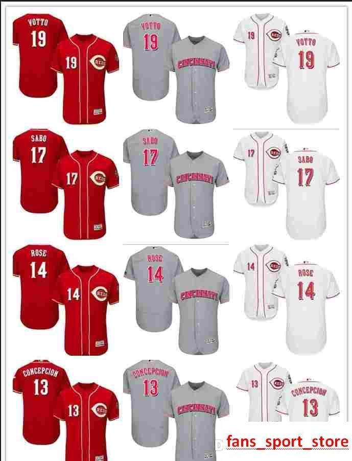 2019 2019 Custom Men S Women Youth Majestic Reds Jersey  13 Dave Concepcion  14 Pete Rose 19 Joey Votto 17 Chris Sabo Home Red Baseball Jerse From ... 012559cdd